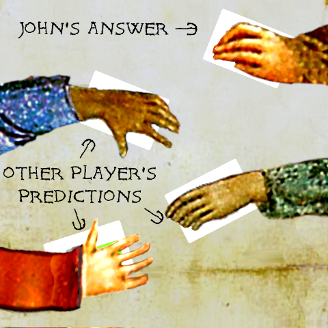 Players put their cards on the table.